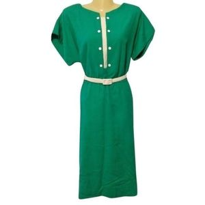 Vtg 80s Leslie Fay green linen blouson dress